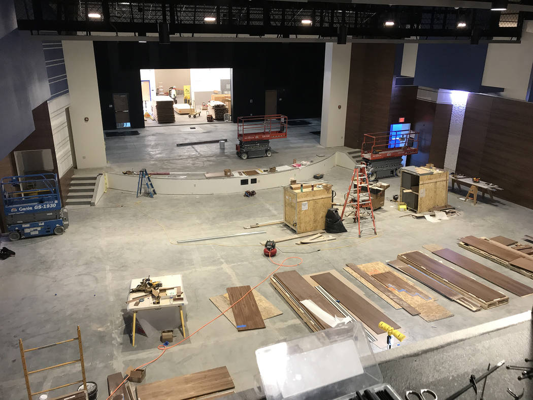 Hali Bernstein Saylor/Boulder City Review Paneling sits on the floor of the new theater at Boulder City High School on Friday as crews prepare to put finishing touches on the building.