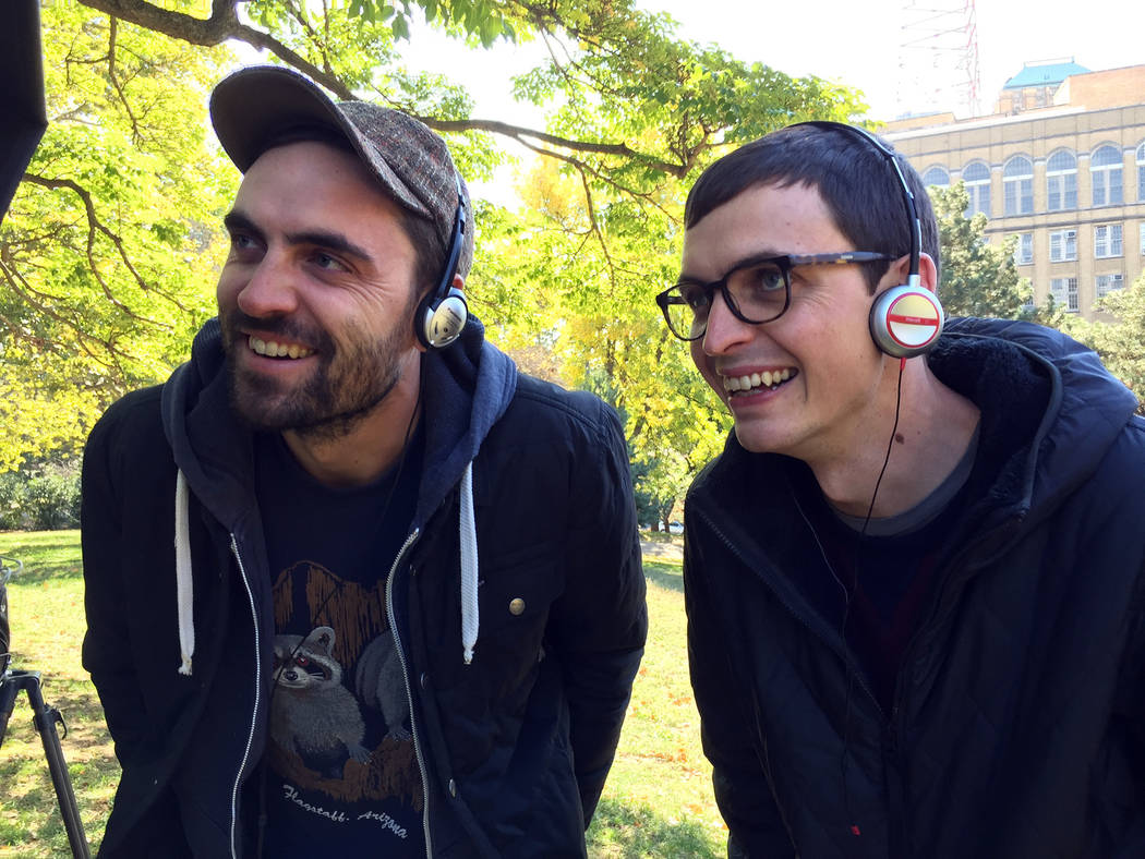"""The Nix Bros. Evan Nix, left, and Adam, work on their short film """"Best Day Ever"""" that will be screened at the 14th annual Dam Short Film Festival, which begins today and runs through Sunday."""