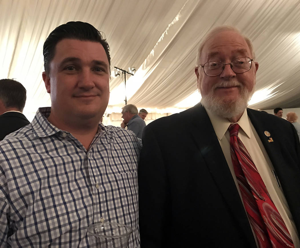 Hali Bernstein Saylor/Boulder City Review Councilman Rich Shuman, left, and former Councilman Duncan McCoy were among those who attended the State of the City address on Feb. 1.