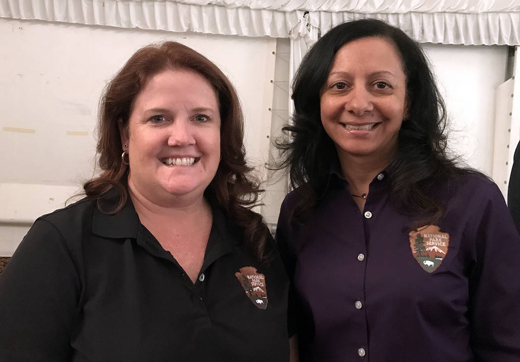 Hali Bernstein Saylor/Boulder City Review Representing Lake Mead National Recreation Area at the State of the City address on Feb. 1 were spokesperson Christie Vanover, left, and Superintendent Li ...