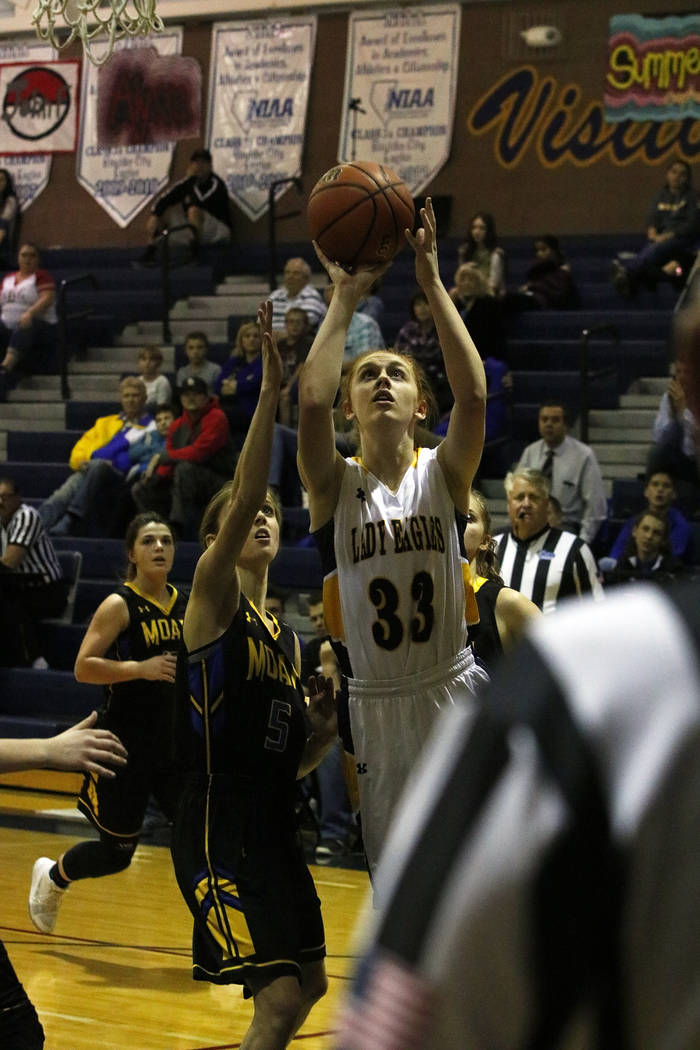 Bryce Rogers/Boulder City Review Boulder City High School sophomore forward Ellie Howard had a career night Tuesday scoring 22 points for the Lady Eagles in their victory over Moapa Valley.