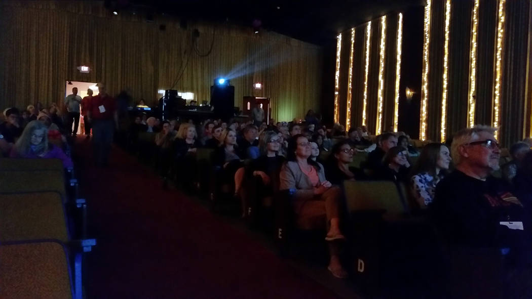 Celia Shortt Goodyear/Boulder City Review Attendees watch the opening for films screening at the Boulder Theatre for the 14th annual Dam Short Film Festival on Feb. 8.