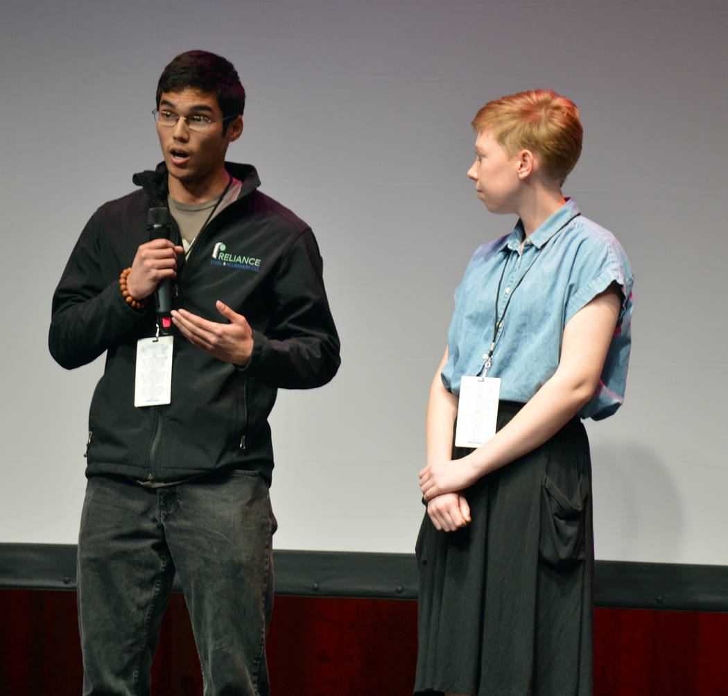 "Celia Shortt Goodyear/Boulder City Review Joshua Cavalier answers a question about his and Celeste Erlander's short film, ""Castle on a Cloud,"" at the Dam Short Film Festival on Feb. 8 at the Bould ..."