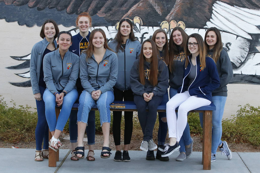 File Members of Boulder City High School's girls basketball team, front row, from left, Kailee Fisher, Jerra Hinson, Keely Alexander, Hannah Estes; back row, from left, Natalie Bowman, Ellie Howar ...