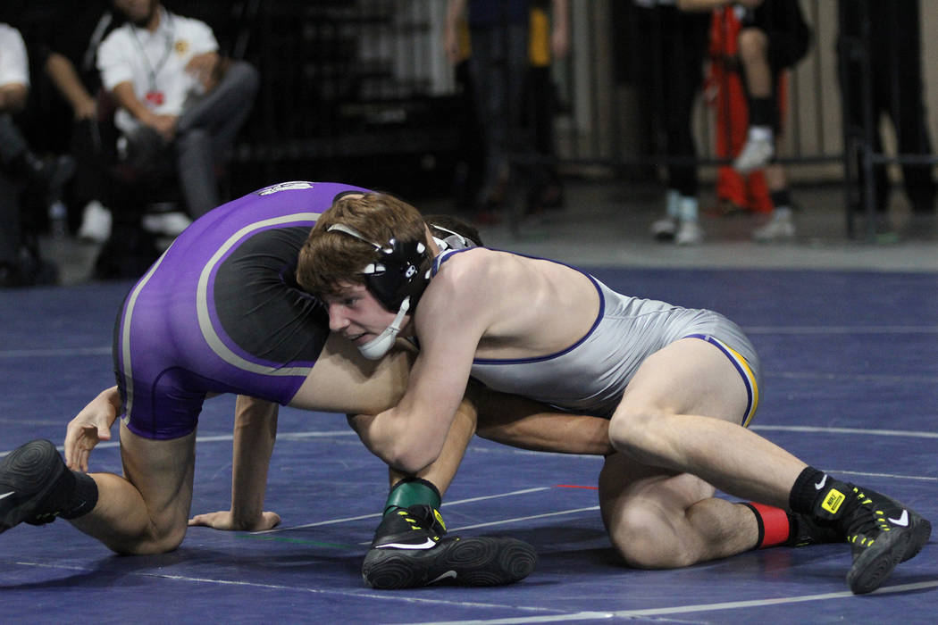 Rich Viera Boulder City High School senior D.J. Reese, wrestled his way to the state championship runner-up spot in the 132-pound weight class on Friday, Feb. 9, 2018, at The Orleans. He lost a 7- ...
