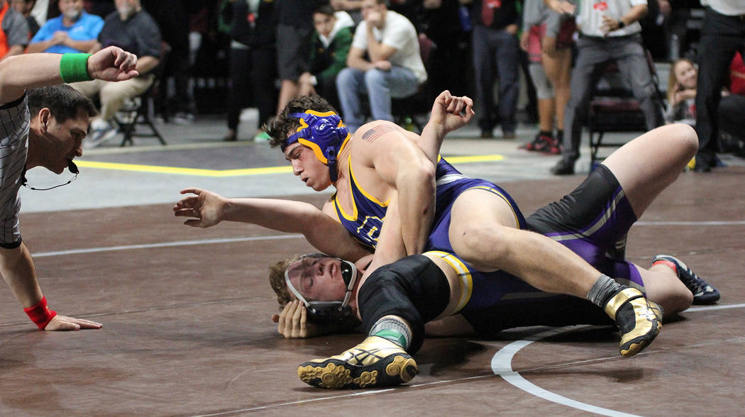 Rich Viera After a referee missed a pin by 195-pound Ryan Vanario in the title match of the state wrestling championships Friday, Feb. 9, 2018, at The Orleans, the Boulder City High School junior  ...