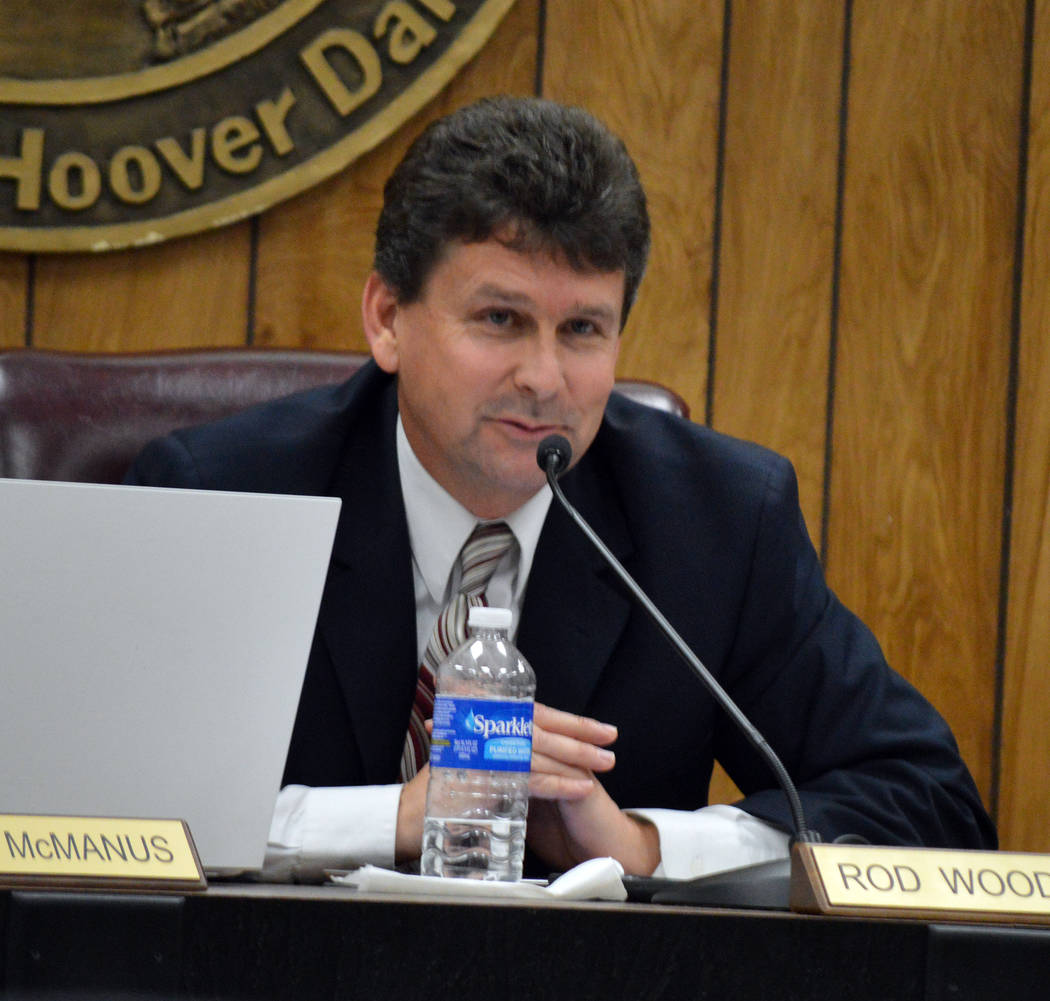 Celia Shortt Goodyear/Boulder City Review Mayor Rod Woodbury addresses the audience at Tuesday's City Council meeting.