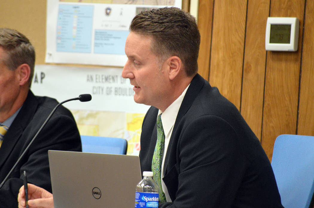 Celia Shortt Goodyear/Boulder City Review Acting City Attorney Steve Morris discusses his contract negotiations at Tuesday's council meeting.