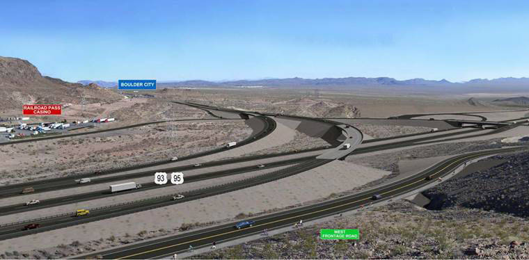 This rendering shows what the completed stretch for the Boulder City Parkway exit off the new Interstate 11 will look like. A new segment, completing the Railroad Pass Casino Road interchange, ope ...