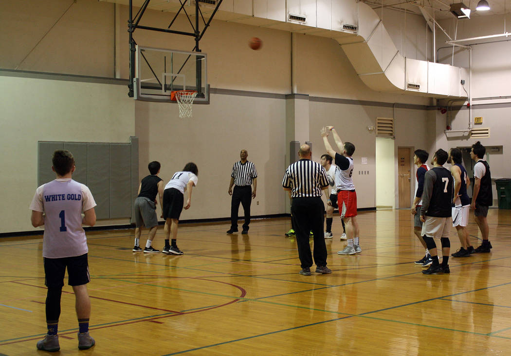 Zach Murphy from The Katz shoots a free throw in the Boulder City Parks and Recreation Department's men's league game against B.C. Kids on Feb. 15.