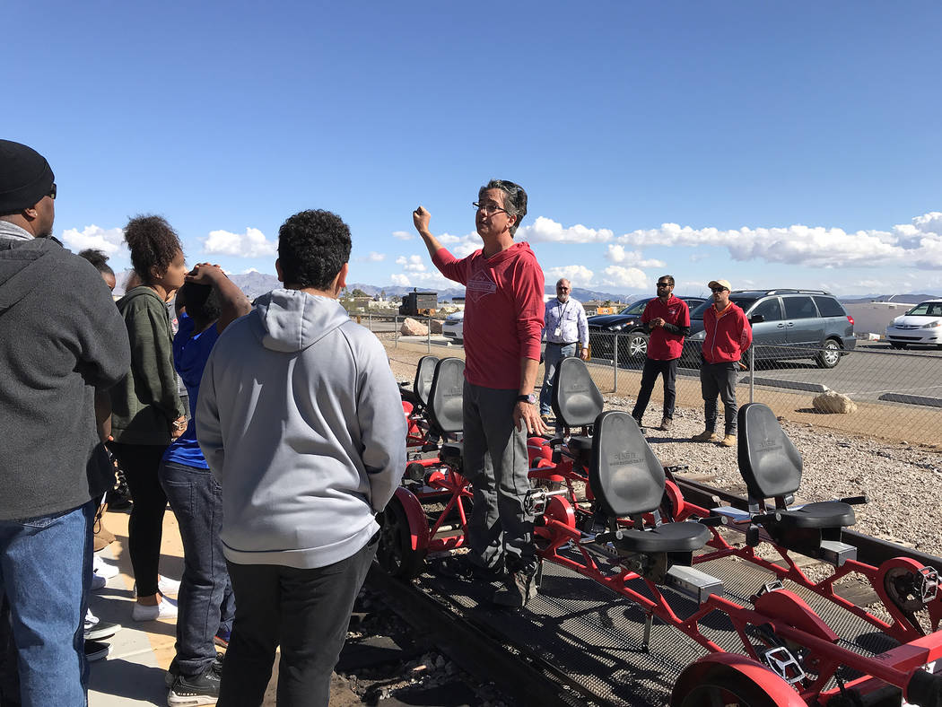 Hali Bernstein Saylor/Boulder City Review Alex Catchpoole, owner and chief operating officer of Rail Explorers, provides a safety lesson to youth from St. Jude's Ranch for Children on Feb. 15 befo ...