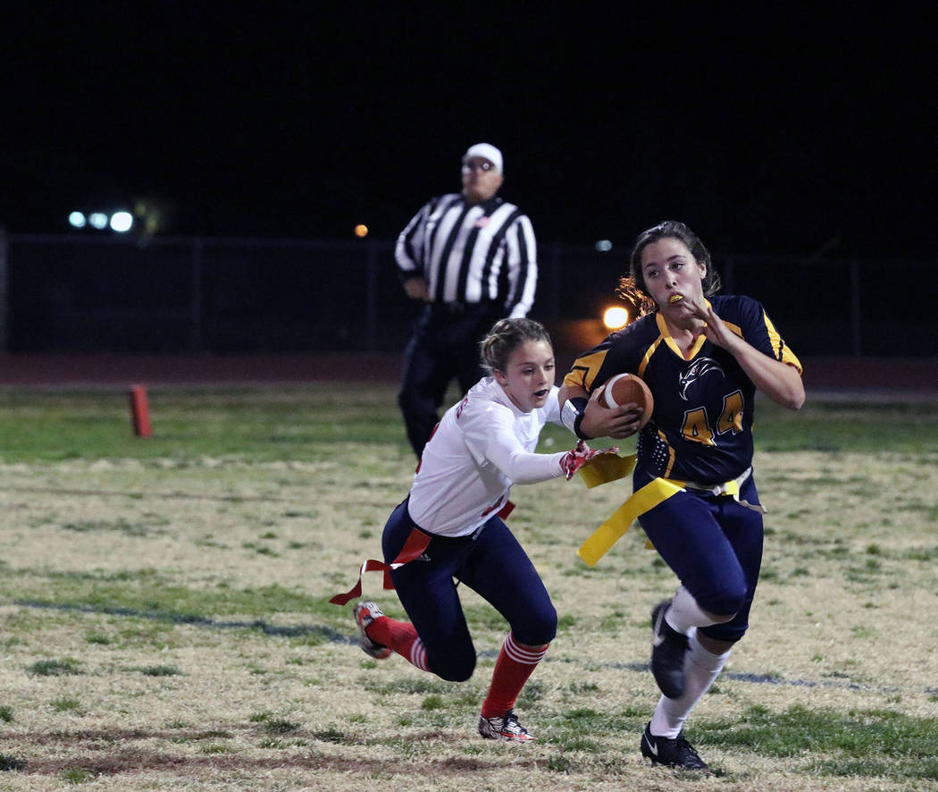 File Senior Nikki Meleo, seen during Boulder City High School's Nov. 29 victory against Liberty High School, led the Lady Eagles with nine tackles, along with 43 rushing yards on five carries and  ...