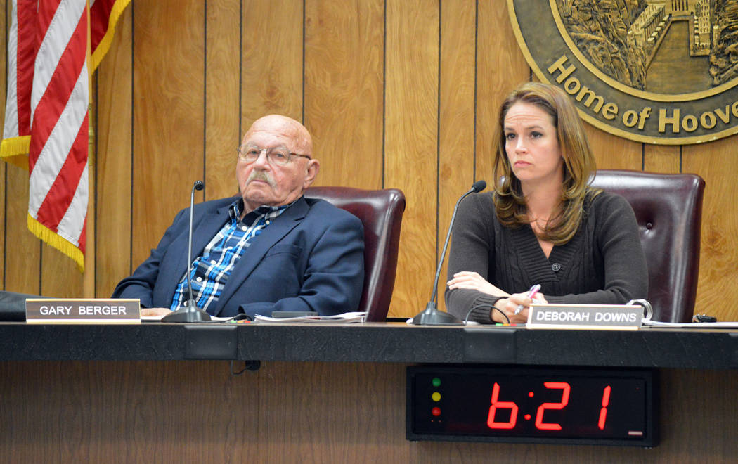 Celia Shortt Goodyear/Boulder City Review Airport Advisory Committee member Gary Berger and Chairman Deborah Downs listen to public comment at the meeting Tuesday.