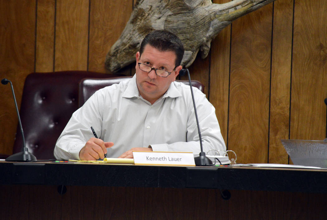 Celia Shortt Goodyear/Boulder City Review Airport Advisory Committee Member Kenneth Lauer listens to a presentation at the group's meeting Tuesday.
