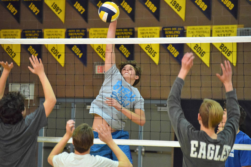 Robert Vendettoli/Boulder City Review Boulder City High School sophomore Boen Huxford leaps for a net-clearing spike during practice Tuesday.