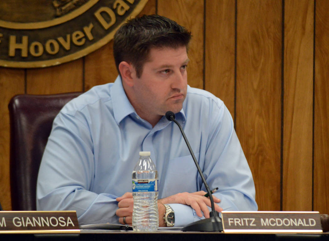 Celia Shortt Goodyear/Boulder City Review Chairman Fritz McDonald listens to a staff presentation at the Planning Commission meeting Wednesday, Feb. 21.