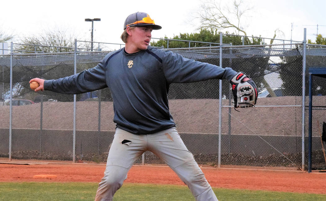 Robert Vendettoli/Boulder City Review Boulder City High School senior Rhett Armstrong will be a starting pitcher for the baseball team, which looks for its third consecutive state championship thi ...