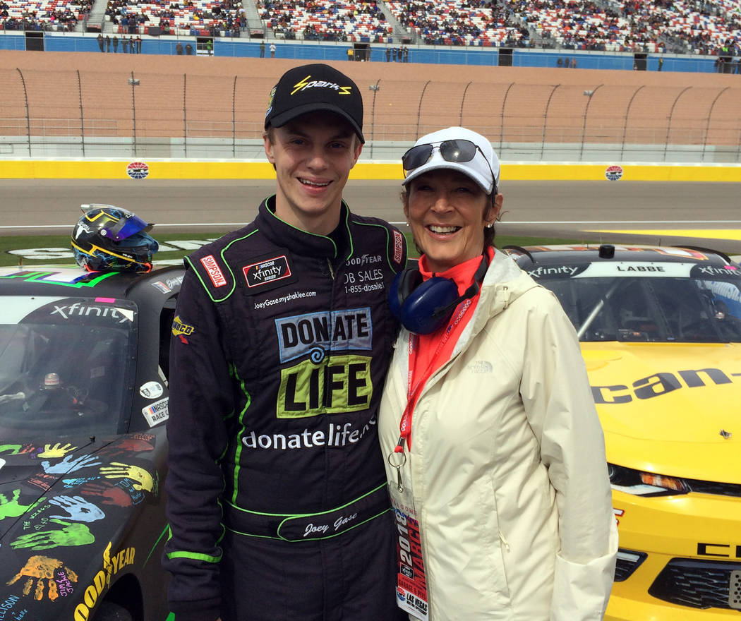 Barbara Garris Nascar Xfinity Series driver Joey Gase honored Barbara Garris' late husband, Allen, for his organ and tissue donations which helped 72 different people.