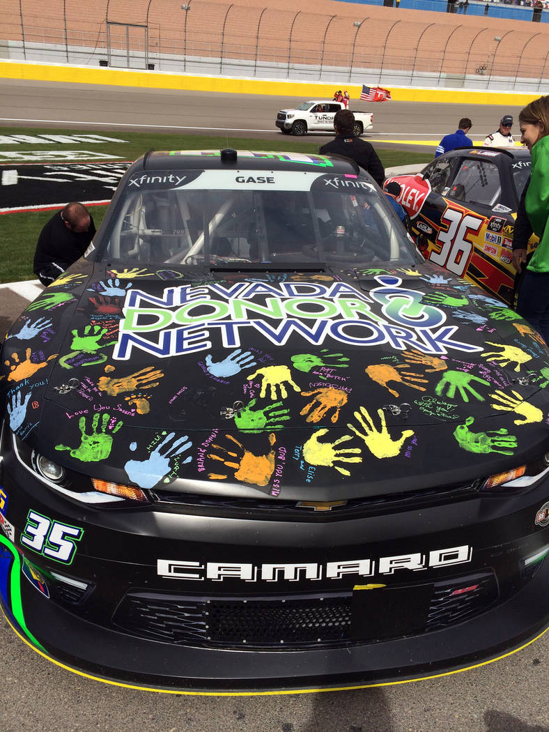 Barbara Garris NASCAR Xfinity Series driver Joey Gase covered his car for Saturday's race at the Las Vegas Motor Speedway with handprints from the friends and family of the late Allen Garris.