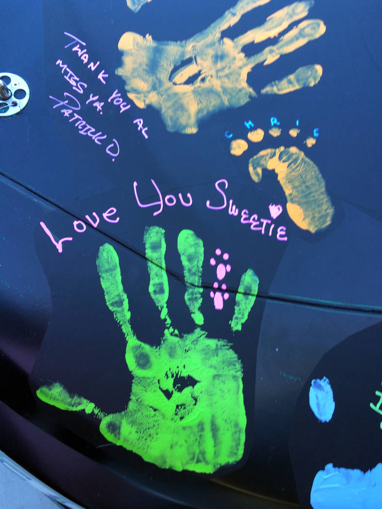 Barbara Garris Barbara Garris remembers her late husband, Allen Garris, with a Handprint of Hope on NASCAR Xfinity Series driver Joey Gase's car at the race Saturday at the Las Vegas Motor Speedway.