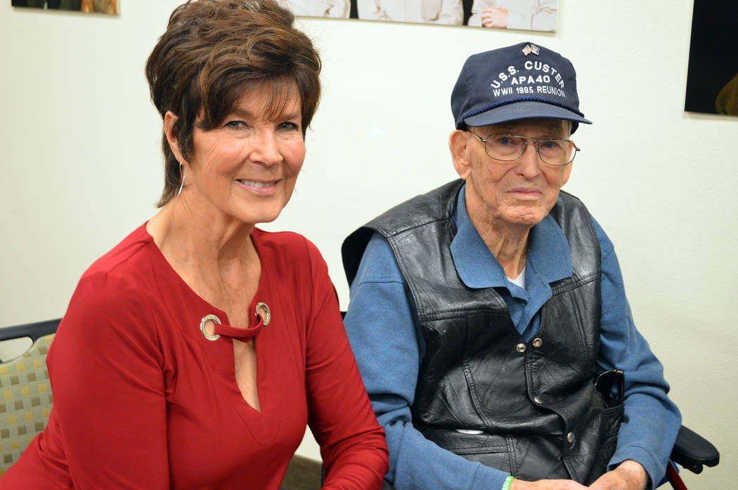 Celia Shortt Goodyear/Boulder City Review Barbara Garris and LeRoy Garris attend the Handprints of Hope Ceremony on March 1 at Metropolitan Police Department headquarters. It honored Barbara's lat ...