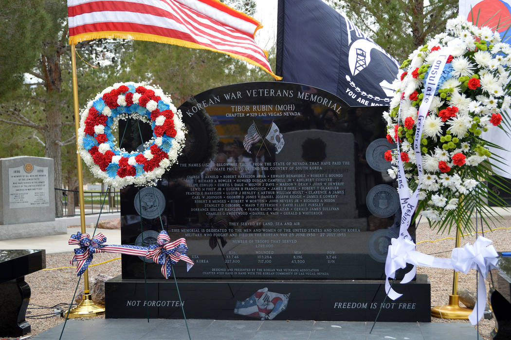Celia Shortt Goodyear/Boulder City Review A memorial honoring veterans of the Korean War was unveiled in the Memorial Garden at the Southern Nevada Veterans Memorial Ceremony in Boulder City durin ...