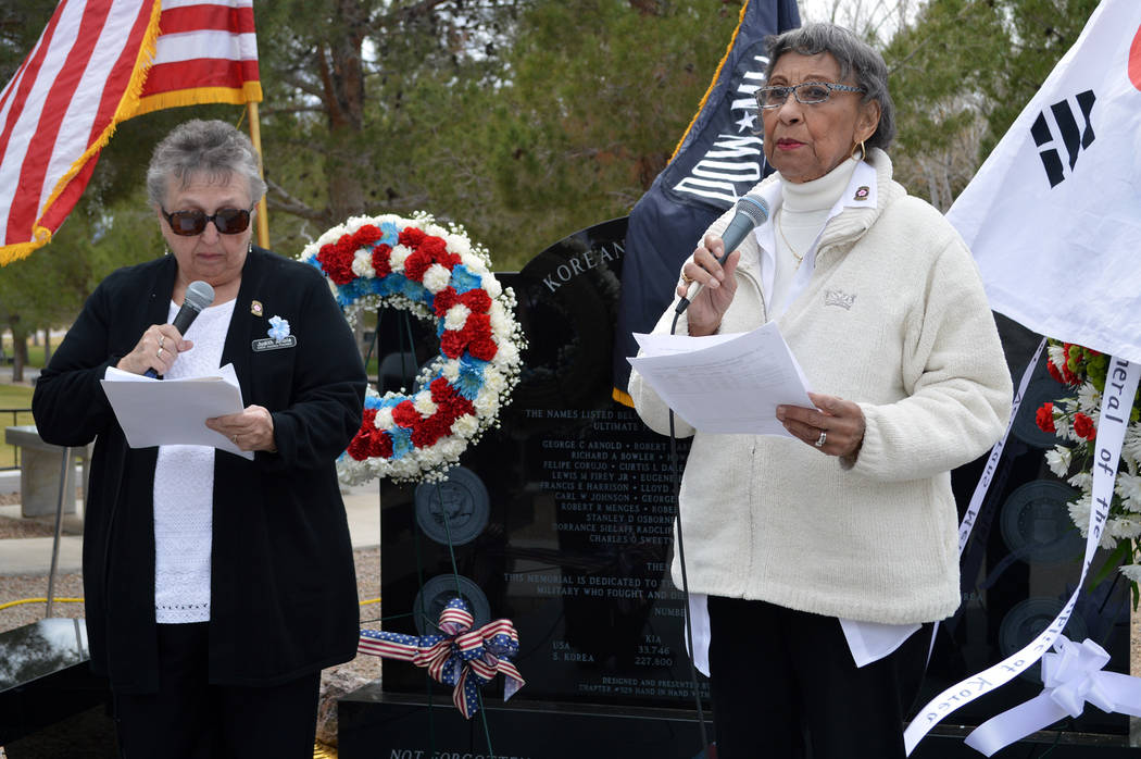 Celia Shortt Goodyear/Boulder City Review Iris Keels, right, and Judy Ariola read the names of the 37 Nevada service members who died fighting in the Korean War at a ceremony to dedicate a new mem ...