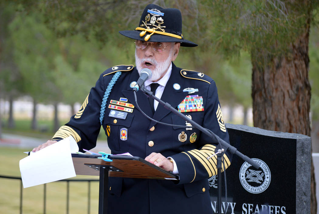 Celia Shortt Goodyear/Boulder City Review Retired U.S. Army 1st Sgt. Chuck Johnson opens the dedication ceremony for the Korean War memorial at the Southern Nevada Veterans Memorial Cemetery in Bo ...