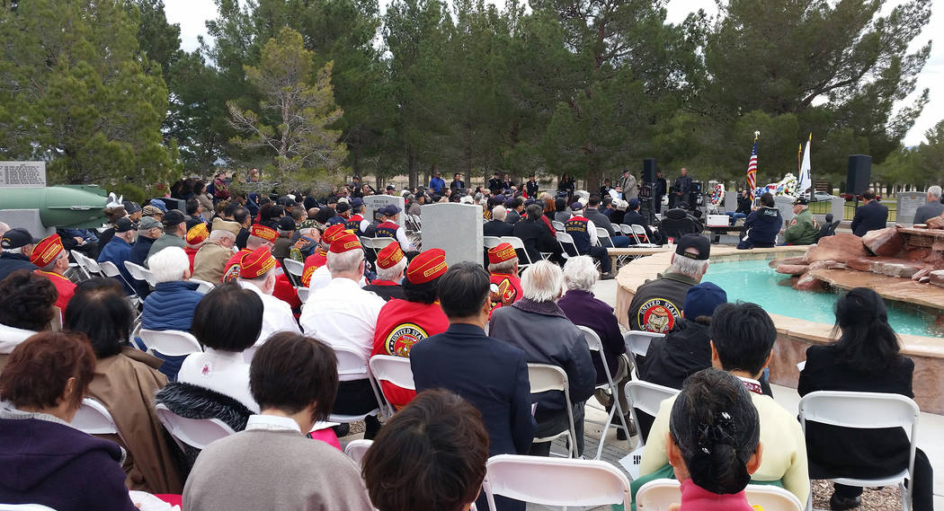 Celia Shortt Goodyear/Boulder City Review More than 250 people attend the dedication ceremony for the new Korean War memorial in Memorial Garden at the Southern Nevada Veterans Memorial Cemetery i ...