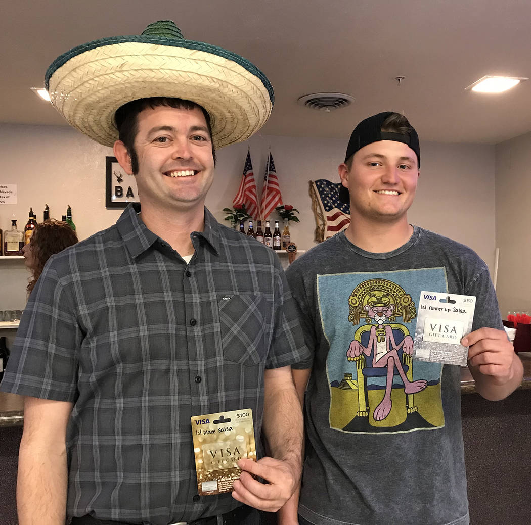 Hali Bernstein Saylor/Boulder City Review Ryan Finnegan, left, Dawson McCoy won first and second place, respectively in the salsa contest at the Mexican Chip Dip Competition presented by the Bould ...