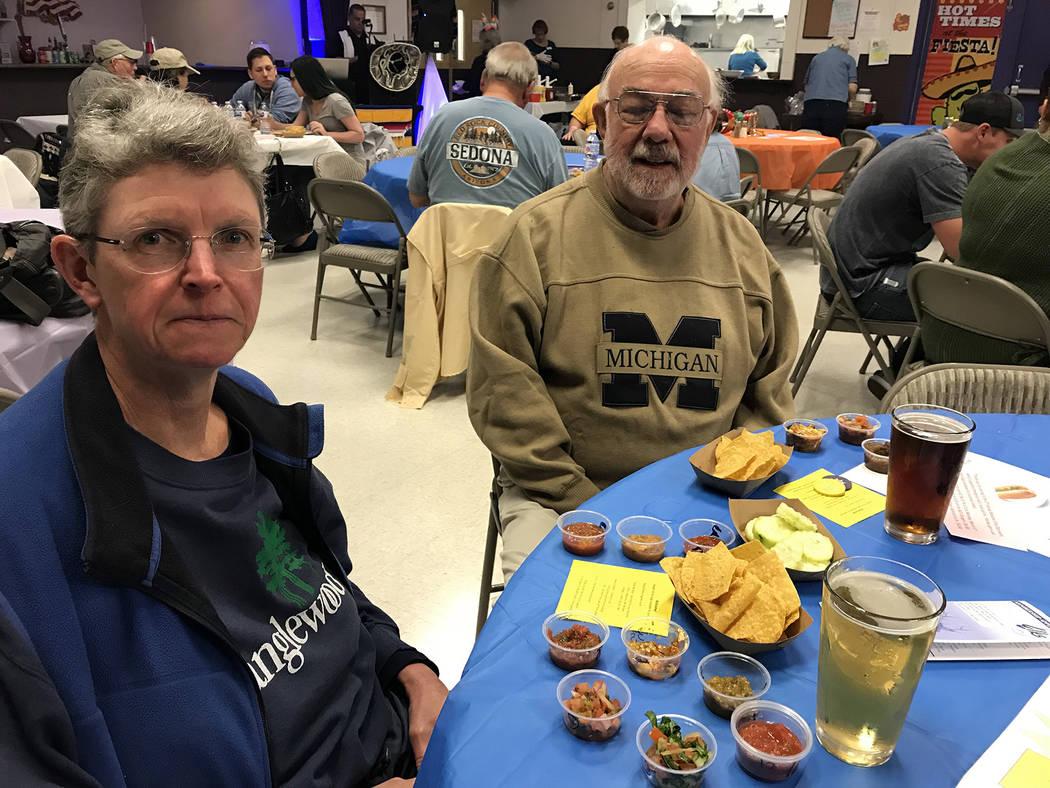 Hali Bernstein Saylor/Boulder City Review Molly Weaver and James Froseth sample a variety of salsas and dips during the March 3, 2018, Mexican Chip Dip Competition presented by Boulder City Elks L ...