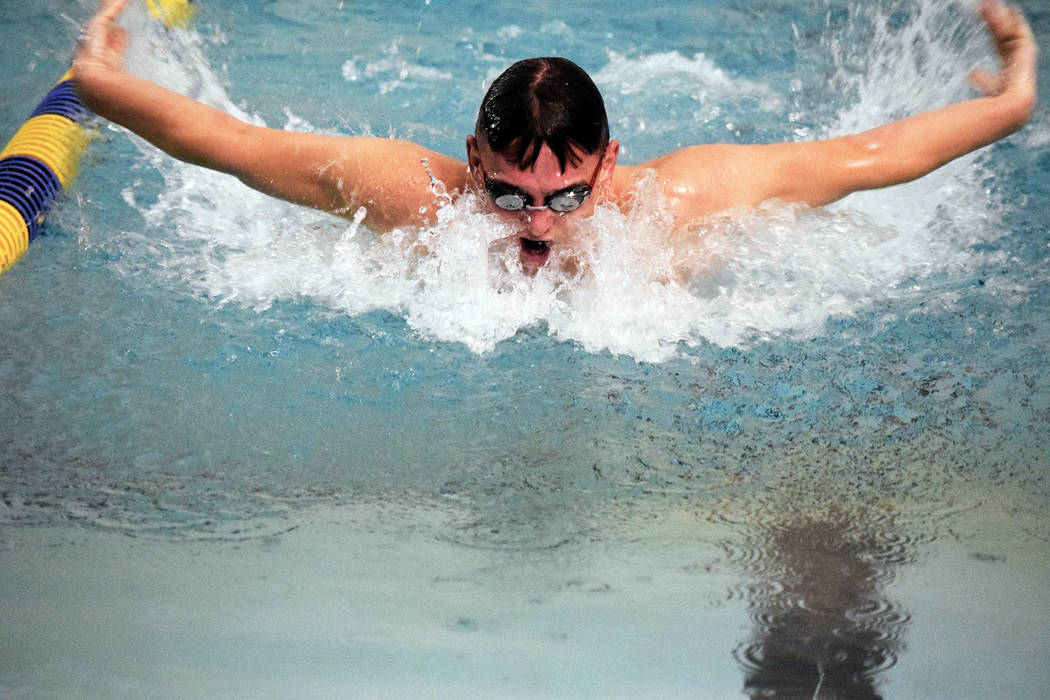 Robert Vendettoli/Boulder City Review Boulder City High School senior Clayton Pendleton practices the breaststroke in preparation for the Eagles' season-opening meet on Saturday.