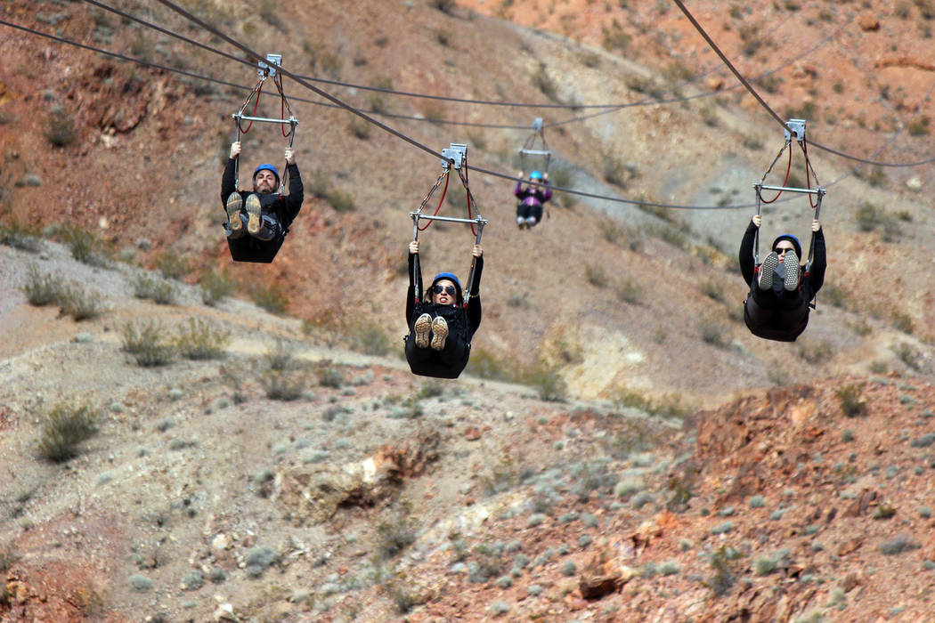 Flightlinez Guests zipline through the desert on a Flightlinez tour in Boulder City.