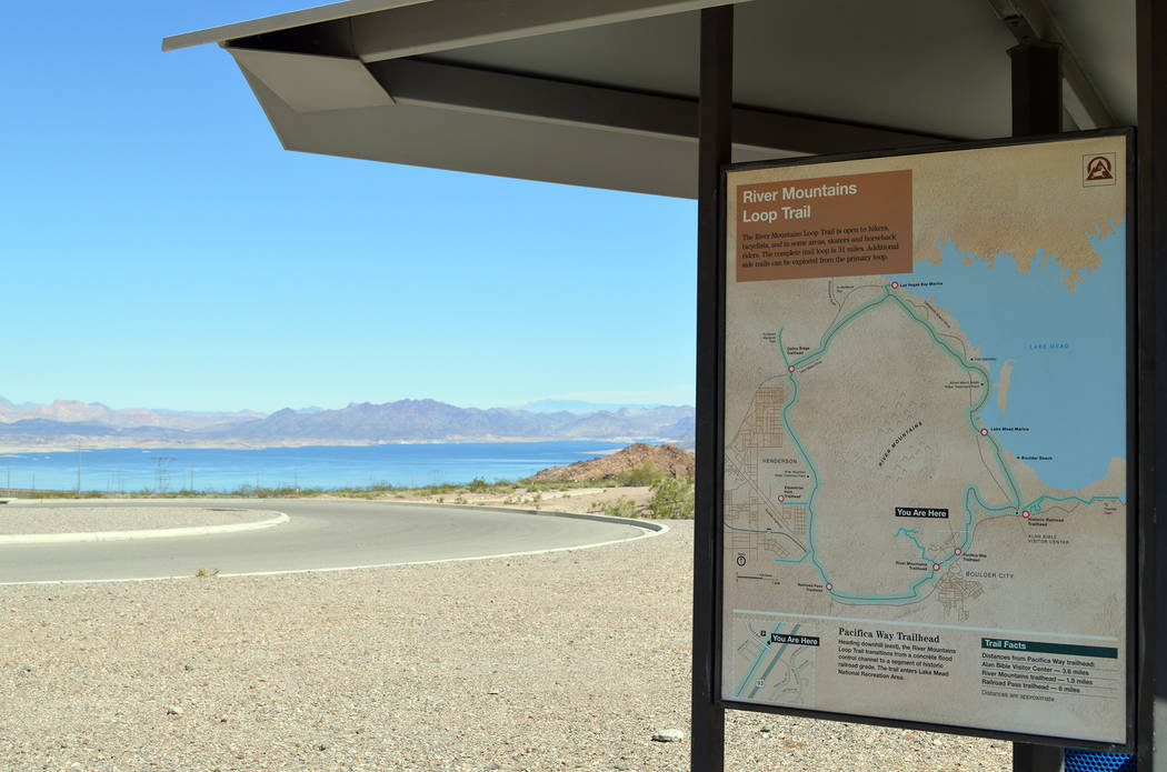 Celia Shortt Goodyear/Boulder City Review The River Mountains Loop Trail is approximately 34 miles long and provides outdoor recreational activities in Henderson, Boulder City as well as parts of  ...