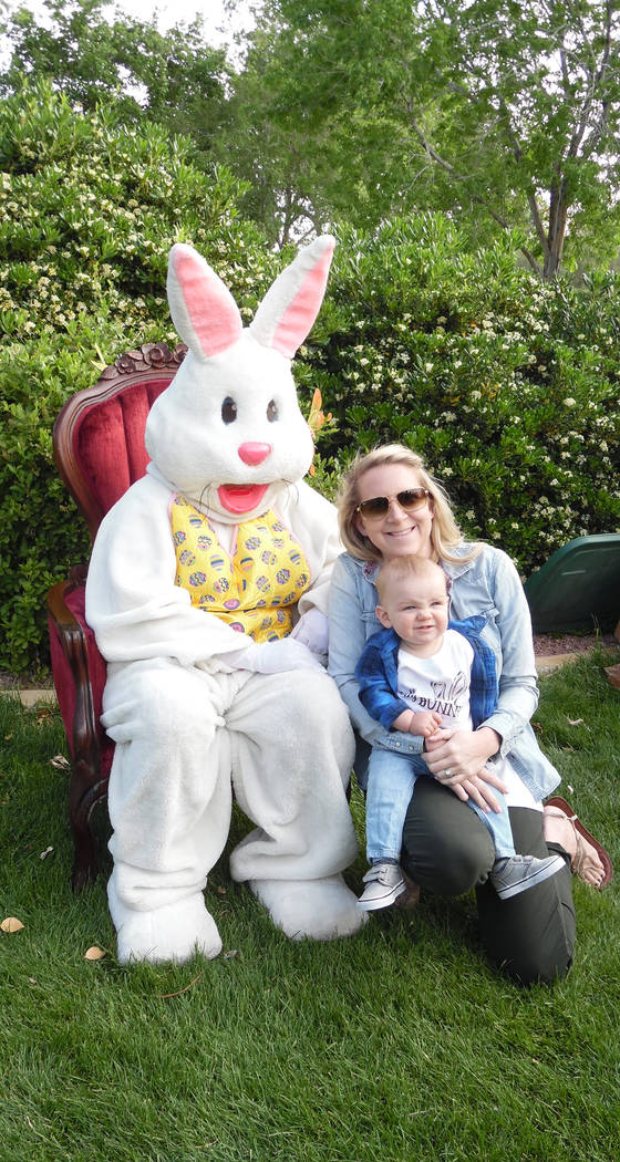 File Kellie Langeliers brought her 11-month-old son Cru to visit with the Easter bunny for the 2017 Easter egg hunt in Boulder City. The 64th annual one is Saturday.
