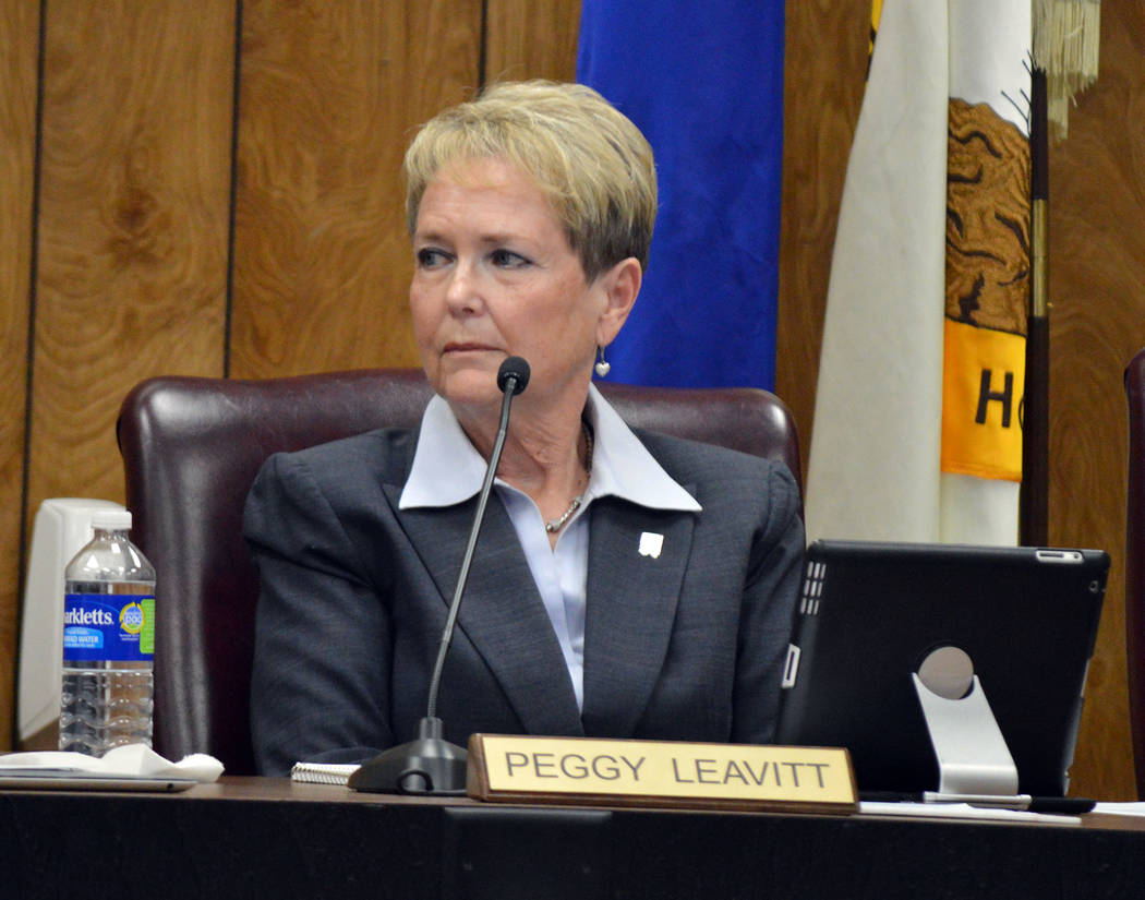 Celia Shortt Goodyear/Boulder City Review Councilwoman Peggy Leavitt listens to comments about the new subdivision at the corner of Adams Boulevard and Bristlecone Drive at the City Council meetin ...