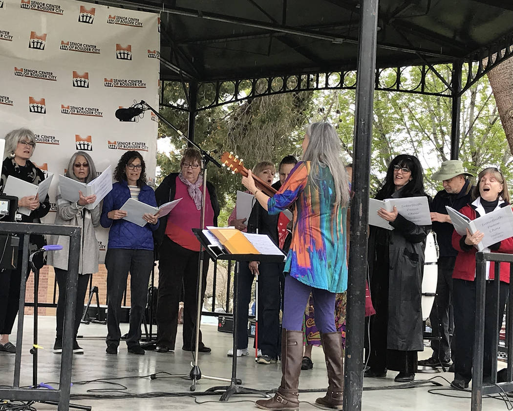 Hali Bernstein Saylor/Boulder City Review Members of the Interfaith Peace Choir perform at the Rock, Roll & Stroll in Bicentennial Park on Saturday. The event raised funds for the Senior Center of ...