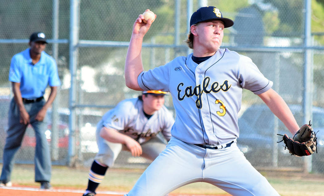 Robert Vendettoli/Boulder City Review Boulder City High School's senior starting pitcher Rhett Armstrong throws a fastball down the middle against Desert Pines on Tuesday, March 13, 2018. Armstron ...