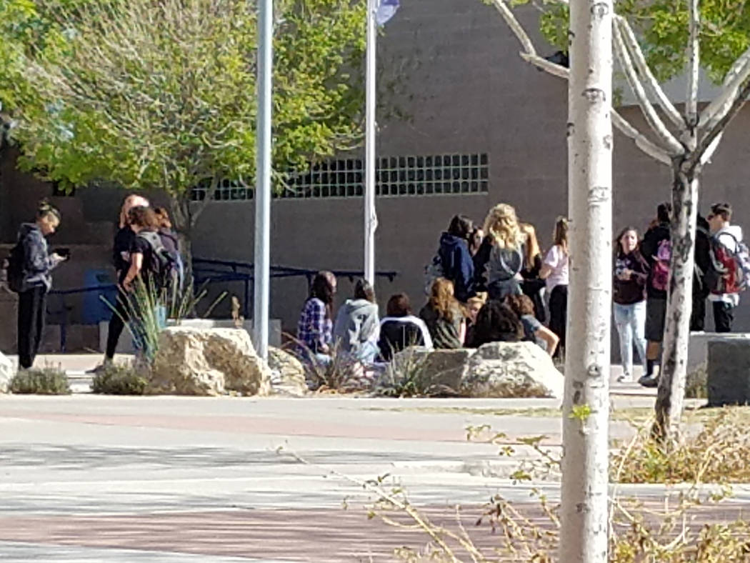 Val Olsen/Boulder City Review Students at Boulder City High School participated in Wednesday's national walkout to honor victims of last month's mass school shooting in Parkland, Florida, and ca ...