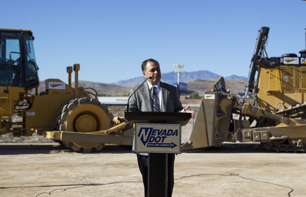 File Rudy Malfabon, director of Nevada Department of Transportation, speaks during a groundbreaking ceremony for a $34 million Interstate 15 and Starr Avenue interchange project in November 2017.