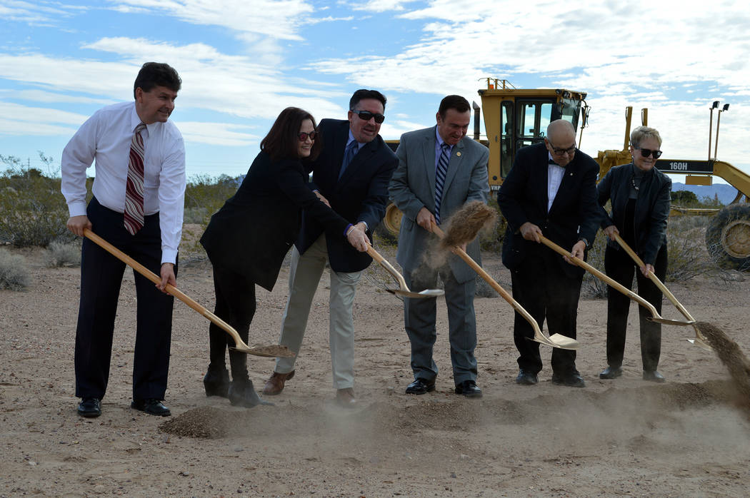 Celia Shortt Goodyear/Boulder City Review Participating in the groundbreaking ceremony Wednesday morning for StoryBook Homes' new subdivision at the corner of Bristlecone Drive and Adams Boulevard ...