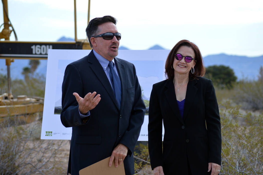 Celia Shortt Goodyear/Boulder City Review StoryBook Homes' Co-principals Wayne and Catherine Laska welcome those who came to the groundbreaking ceremony Wednesday for their 127-home new subdivisio ...
