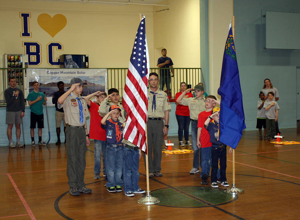 Kelly Lehr Members of Boy Scout Pack 30, Troop 7, conducted a flag ceremony March 14 to open the Boulder City Parks and Recreation Department's youth floor hockey league for third-sixth-graders.