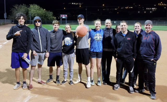 Kelly Lehr The Ball Kickers won the Boulder City Parks and Recreation Department's adult coed kickball league Sunday. Members include, from left, Zach Trone, Sebastian Jimenez, D.J. Reese, Dain Sz ...