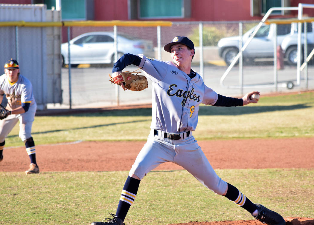 Robert Vendettoli/Boulder City Review Boulder City High School senior Teddy Lobkowicz throws a strike down the middle in the fifth inning against Western on Monday. Lobkowicz went the distance aga ...