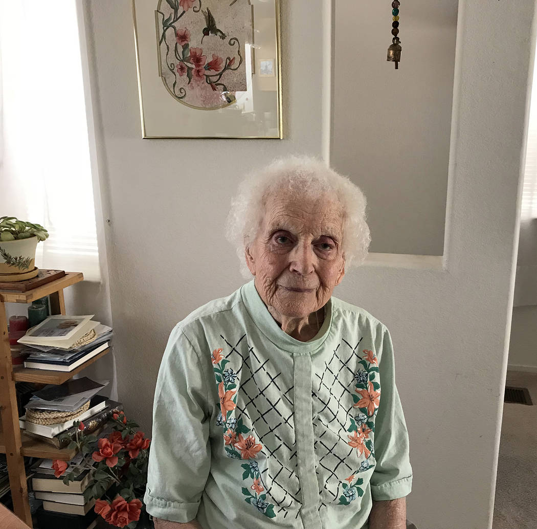 Hali Bernstein Saylor/Boulder City Review Eleanor Beckert of Boulder City is celebrating her 100th birthday today, March 29, 2018.