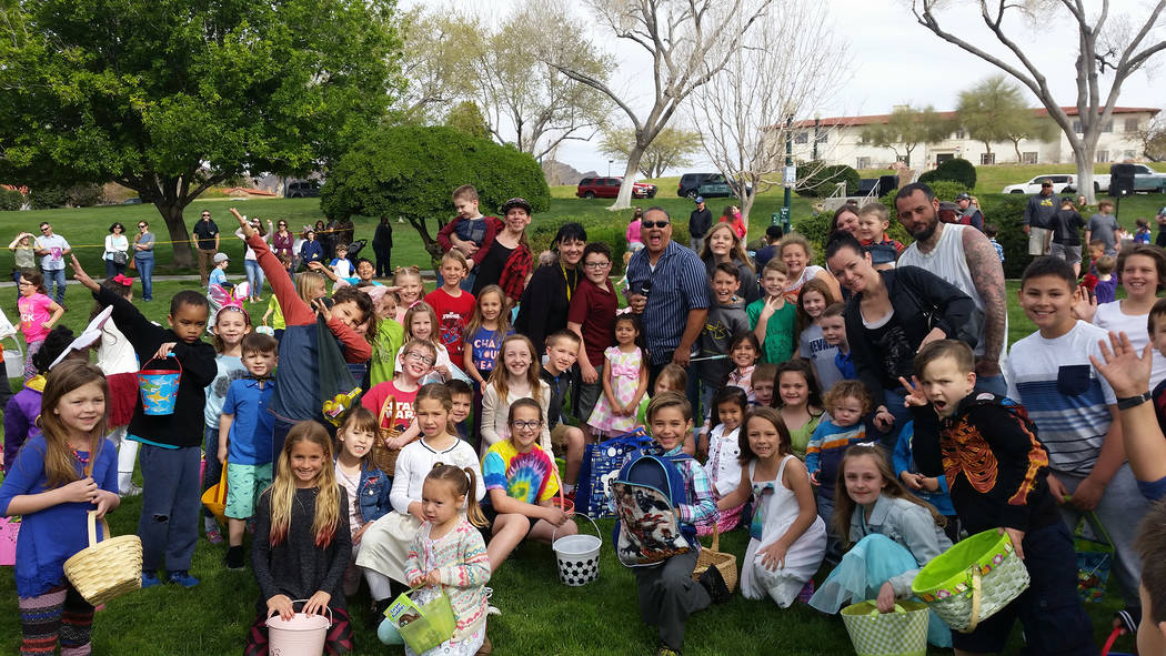 Celia Shortt Goodyear/Boulder City Review Children and adults of all ages pack Wilbur Square Park on Saturday for the annual Easter egg hunt.