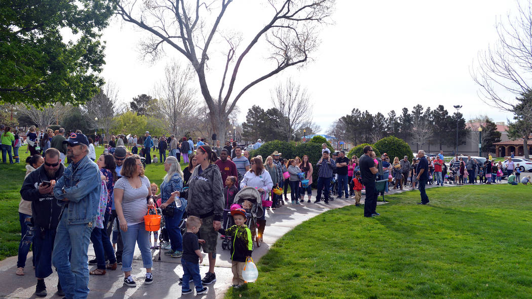 Celia Shortt Goodyear  Boulder City Review Children and their families fill Wilbur Square Park on Saturday to get their