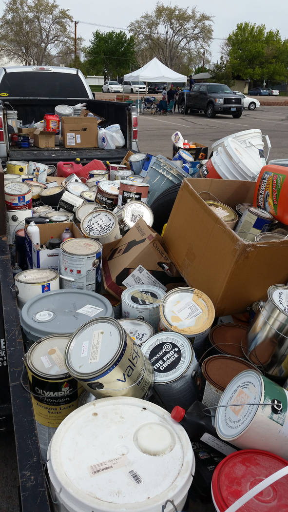 Celia Shortt Goodyear/Boulder City Review Residents were able to dispose of old paint and other chemicals at the Big Clean at Bravo Field on Saturday.