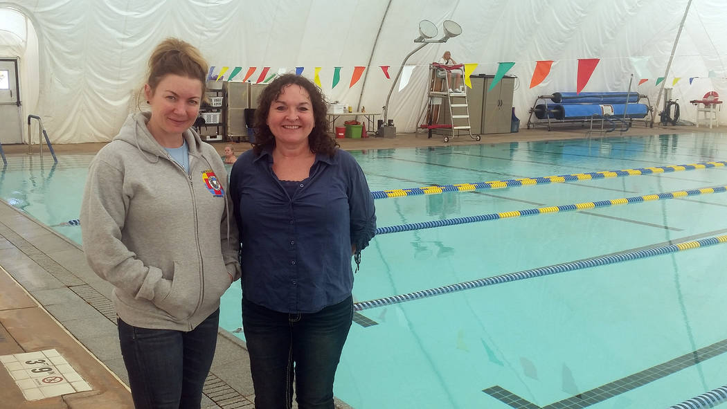 Celia Shortt Goodyear/Boulder City Review Cheree Brennan, right, is the new aquatic coordinator at the Boulder City Pool and will be working with Sarah Fecteau, the new assistant aquatic coordinator.